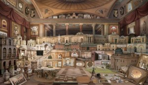 Emily Allchurch, Grand Tour: In Search of Soane (after Gandy), Transparency on LED lightbox, 106.6x182.4 cm, 2012. Copyright the artist, reproduced with permission